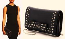 Kate Spade Davies Mews Eva Black Saffiano Leather Bow Convertible Clutch $298