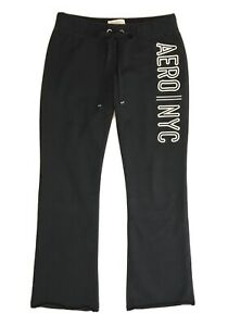 Aeropostale Womens Sweatpants Size L Black Fit and Flare Drawstring Waist
