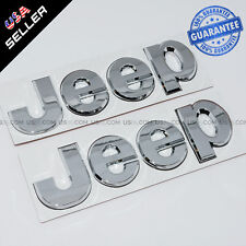 Silver Chrome 3D JEEP Hood Trunk Tailgate Emblem Logo Stickers Badge Set 2pcs