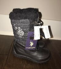 9790eec60 Polo Ralph Lauren S Girls Toddler Black Winter Snow Boots Sz 8 - NWT 29813