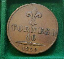 10 Tornesi 1859 Regno delle due Sicilie Francesco II Borbone  NAPOLI Grana Tarì
