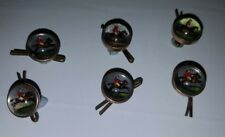 Six 19th Century Reverse Painted Glass Mens Shirt Studs /Buttons -Hunting Theme