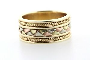 14K Yellow Gold Tri Color Gold Woven Pattern & Rope Border 9MM Band Ring Size 7