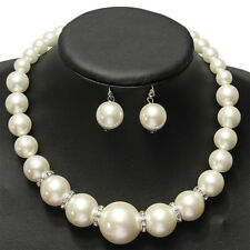 Pearl Wedding Jewelry Sets Silver Color Necklace Earrings Jewelry Accessories