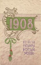 Vintage New Year Postcard Textured Paper 1908 Embossed Posted