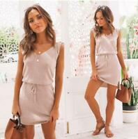 Summer Casual Womens Beach Mini Dress Holiday Sleeveless Party Sundress