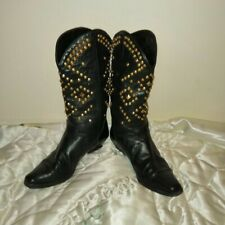 Original Vintage 80'S studded cowboy boots with gold studs size 3
