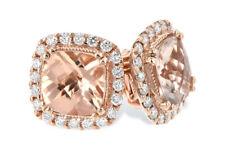 2.20Ct Cushion Cut Morganite Diamond Halo Stud Earrings 14K Rose Gold Finish