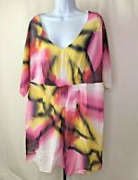 Lane Bryant Womens Top Plus Size 18 / 20 Pink Yellow White Water Color Blouse