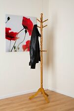 CLEO WOODEN COAT HAT STAND WITH 9 HOOKS-Solid Wood in Oak Finish(CR18OAK)