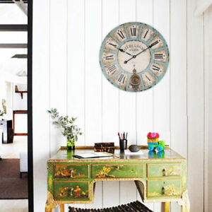60CM EXTRA LARGE  VINTAGE STYLE SHABBY CHIC WALL CLOCK BIG GIANT OPEN FACE ROUND