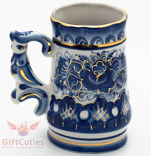 Porcelain Gzhel Cup beer Mug falcon author's work handmade hand-painted gold