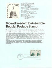#7524 9c Freedom to Assemble #1591 Souvenir Page