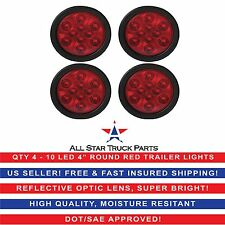 """4"""" Red 10 LED Round Stop Turn Tail Truck Light with Grommet & Pigtail - Qty 4"""