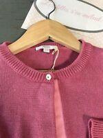 JACADI 6 ans ++  Gilet court maille coton rose malabar tout doux laine hiver