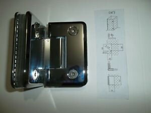 Glass to Glass Quality Chrome Door Hinge  90 degree 90mm x 55mm