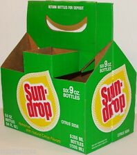 Vintage soda pop bottle carton SUN DROP rain drop logo new old stock n-mint