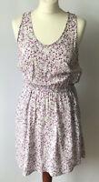 Levis Floral Skater Dress Purple Floral Pockets Sleeveless Elasticated Medium