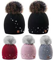 Women Ladies Winter Beanie Hat Faux Pearl Pleated Knitted Big Pom Pom Fleece