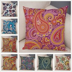 Plush Indian Pattern Paisley Style Pillow Cushion Cover for Sofa Home Decor