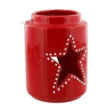 Red Ceramic Christmas Star Lantern Candle Holder