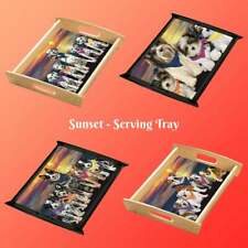 Family Sunset Dog Cat Wood Serving Tray, Pet Photo Lovers Gift Kitchen Tray