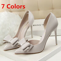 Women's Shoes Pumps Pointed Toe Shallow Bow Stilettos High Heeled Party Wedding