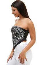 Sexy Bandana Paisley Scarf Halter Cotton Crop Tube Top Made in USA *Free Gift*