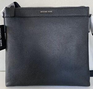 Michael Kors Cooper Black Pebbled Leather Large Messenger Crossbody Bag