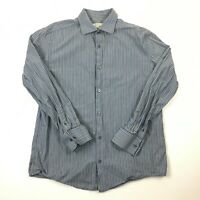 Merona Blue/Gray Striped Button Down Shirt Long Sleeve 100% Cotton Size Large