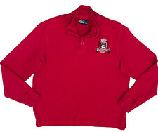 Polo Ralph Lauren Rugby Shirt Embroidered Stag Crest Madison Ave New York Red XL