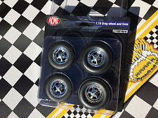 1:18 Acme Highway 61 Chrome Cragar S/S Drag Racing Mag Wheel Tire Set A1806702W