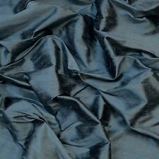 "Iridescent Cadet Blue Dupioni 100% Silk Fabric, 54"" Wide, By The Yard (S-239)"