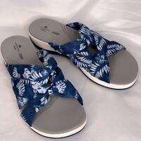 CLOUD STEPPERS by Clarks Women's Blue Jersey Slide Arla Dristi Sandals Size 11