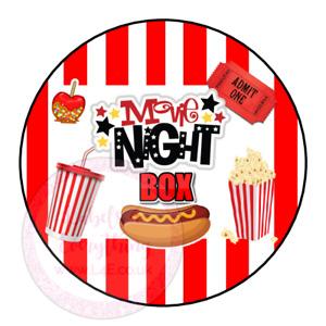 Movie Night Popcorn Hotdog Family Film Cinema Sweets Cone Party Kids Labels