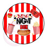 Movie Night Popcorn Hotdog Family Film Cinema Sweets Cone Party Kids Labels
