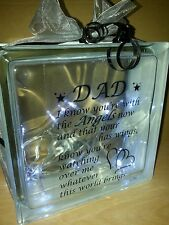 PERSONALISED Glass Block Mum / Dad Memorial Quote LED Lights Included