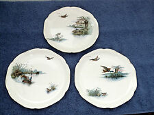 Set of 3 French Choisy le Roi vintage/antique plates. Hand coloured duck scenes.