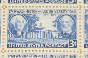 1949 sheet, Washington & Lee University, Sc# 982