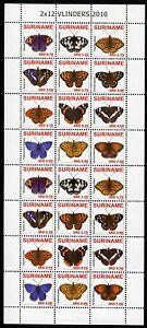 Surinam 2010 Schmetterlinge Butterflies Vlinders Papillon 2380-2391 ZD-Bogen MNH