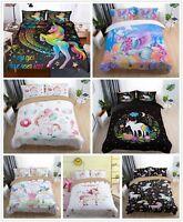 3D Fairytale Dream Unicorn Duvet Cover Bedding Set Pillowcase Comforter Cover