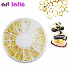 12 Mix Designs Nail Accessories Gold Geometry Nail Art DIY Round Triangular Deco