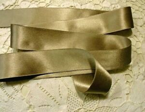 """2"""" WIDE DOUBLE FACE SILK SATIN RIBBON -  TAUPE # 117- by the yard"""