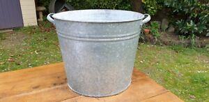 Genuine Vintage Galvanised Round Tub. Tree Garden Herb Planter, Container #99