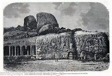 Antique print Mahabalipuram bas relief Mamallapuram  India 1869