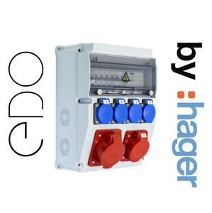 Baustromverteiler Wandverteiler EDO PLUS Komplett 32A 16A mit HAGER Sicherungen