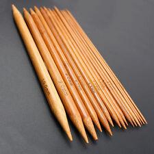 "75 x 8"" 20cm Knitting Needles Bambù Carbonizzato Doppio Punto 2-10mm 5 x 15 Taglie"