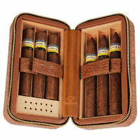 Small Brown Leather Spanish Cedar Wood Travel Cigar Case Humidor 6 Counts