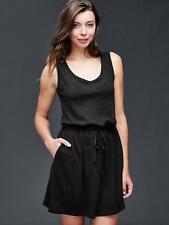 Gap Women's Black Linen-Cotton Tie Dress Size L Tall