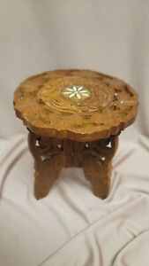 """Vintage 7"""" Hand Carved INDIA W/InlayWooden PLANT STAND STOOL"""